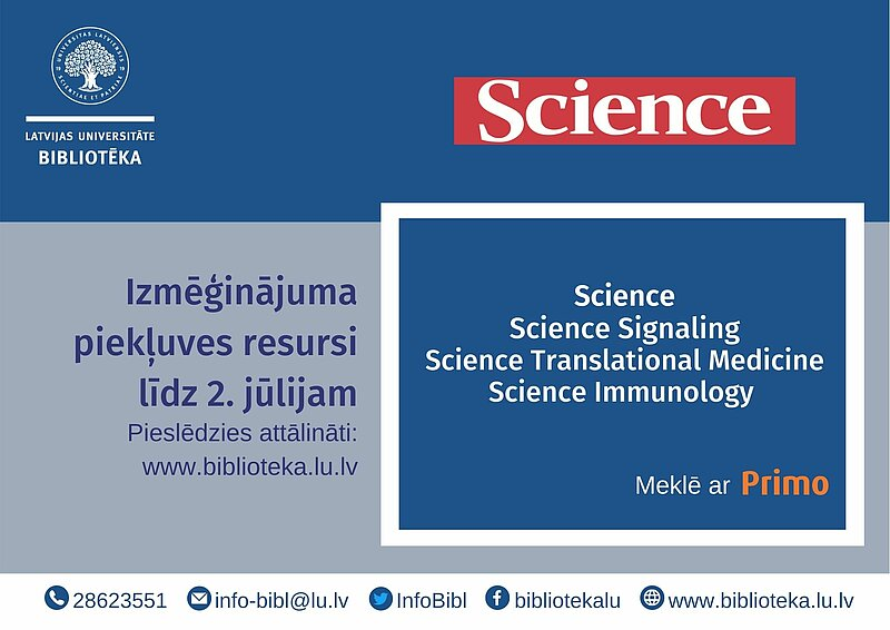 Science e-journals temporary available at the University of Latvia