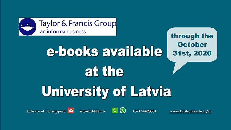 Taylor &Francis Group e-books temporary available at the University of Latvia
